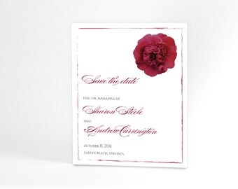 Save the Date Wedding Announcement Cards with Single Rose in Your Choice of Color and a Delicate Sweet Border to Match
