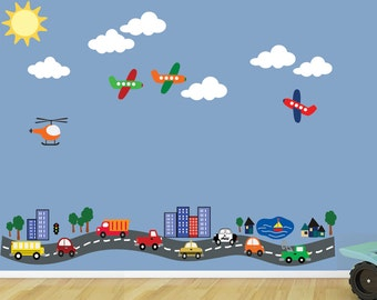 REUSABLE Road with Cars Planes TRANSPORTATION Wall Decal  616