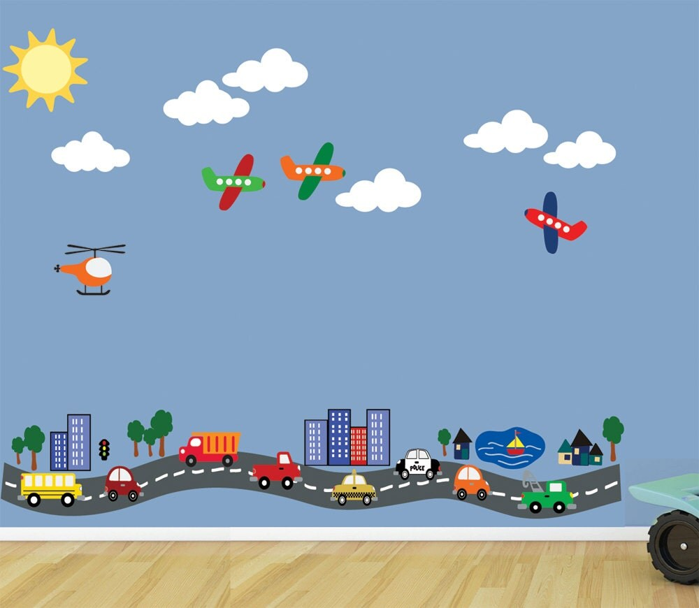 Reusable road with cars planes transportation wall decal 616 for Cars wall mural sticker