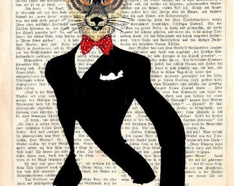 FOX THE JEWELER giclee print poster mixed media painting illustration