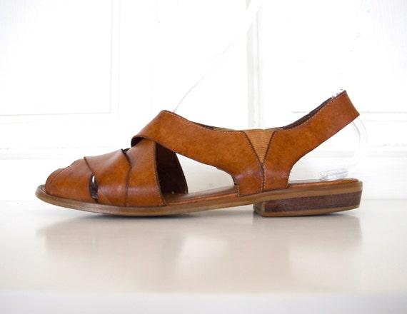 80s Brown Leather Thick Strap Sandals / Roman Sandals / Women's Size 8.5 US - 39 Eur - 6.5 UK