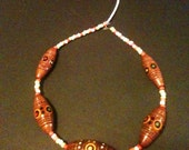 Funky tribal beaded necklace adjustable length- price reduction