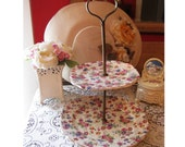Tea Time - Vintage Floral Cake Stand - Vintage Tea Party - 2 Tiered Plate - Cup Cake Stand - Jewelry Holder