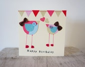 Happy birthday card with birds and bunting, handmade