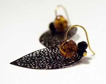 Black and Golden Dangle Earrings - Black filigree with amber glass Earrings