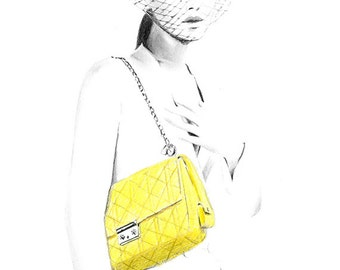 Drawing Illustration - Jennifer with Dior Yellow Handbag