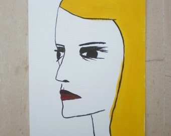 Contemporary Portrait of a Woman with Blonde Hair -- Small Original Acrylic Painting