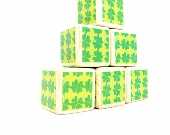 Clearance. SALE. St. Patricks Day  Decor. Wood blocks. Gift for Children. Green.  Building blocks. toy.