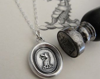 Dragon wax seal necklace - Protection - French wax seal jewelry in fine silver