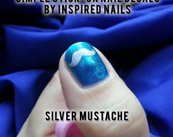 Mustache Simply Stick-On Nail Decals Choice of Colors Gold, Silver, White, Brown and More