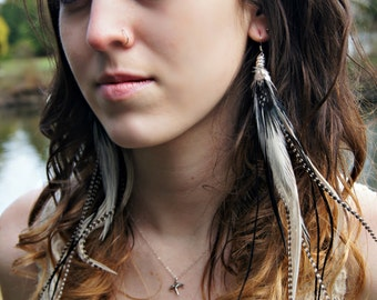 Long feather earrings, extra long feather earrings, black feather earrings, white feather earrings, grizzly feather earrings