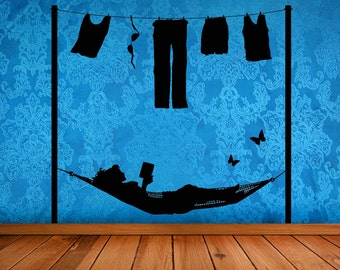 Laundry Room Decor, Laundry Decal, Hammock, Read, Reading, Book, Fun, Unique, Butterfly Wall Art, Laundry Sign, Home Decor, Wall Decal