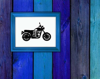 Triumph Motorcycle, Chopper, Motorcycle Gifts, Vinyl Decal, Vinyl Sticker, Wall Decor, Wall Decal, Garage, Office, Bedroom Art, Home Decor