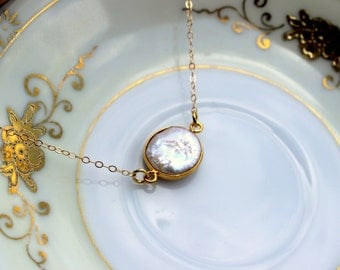 Freshwater Pearl Necklace 24k Gold Layered Round Pearl - 14k Gold Filled Chain - Wedding Jewelry - Bridesmaid Necklace