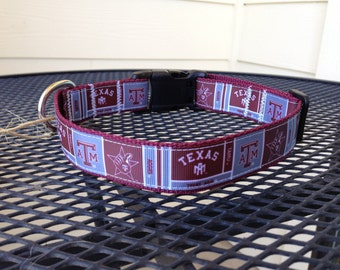 Dog Collar Made from Texas A&M Inspired Ribbon