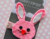 Pink Bunny Hair Clip- Easter Bunny Hair Clip - Bunny Hair Clip - Felt Hair Clip - Easter - Baby Hair Clip