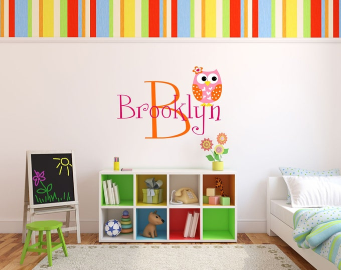 Monogram Decal with Owl - Name Wall Decal - Girls Name Wall Decal (Large Style)  - Wall Decal Nursery - Owl Decor