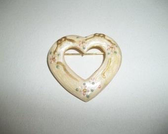 Enamel Glazed Heart Brooch With Golden Accents