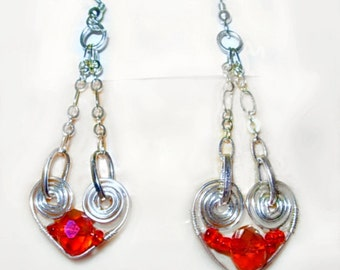 Silver Hearts & Red Crystal Earrings, Dangle, Wire wrapped,Valentine Gift Idea