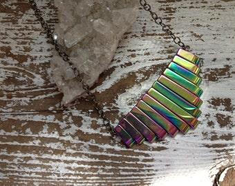Hematite Necklace Crystal Boho Chevron Necklace - Rainbow Aura Crystal Gemstone Layering Necklace, Sheild, Yoga, Meditation, Chakra, Boho