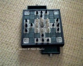 Tafl - . Hnefatafl - Celtic Royal Game board - / 7x7 light grey and dark green ceramic tiles / with 2 drawers - Made to order