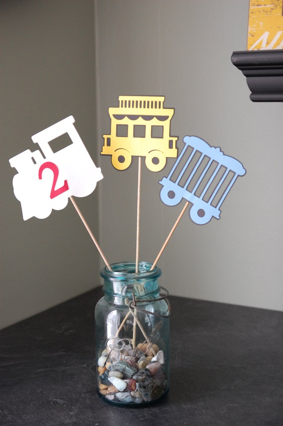 Train Centerpieces, Train Birthday Party, Train Baby Shower, Train Theme, 9 Pcs Red Yellow Blue