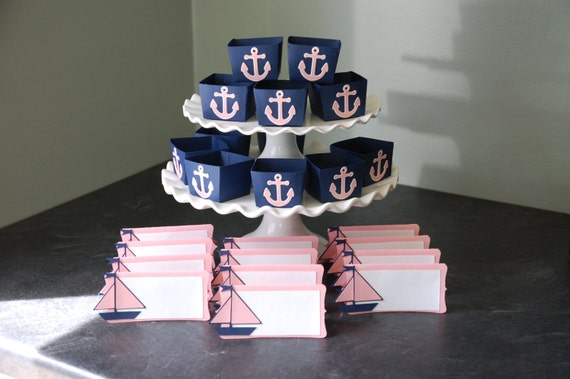 nautical package candy cups place cards anchors sailboats, Baby shower invitations