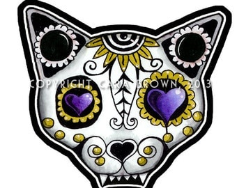 Sugar Skull Cat Sticker Day of the Dead Vinyl Decal or Car Window lap top or ipad size large