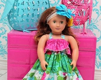 """Cora's 18"""" Doll Tiered Top, Sun Dress and Maxi Dress PDF Pattern"""