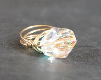 Gold Wirewrapped Ring Cocktail Ring Gem Pops. Iridescent Swarovski Crystal Gold Wire Wrapped Ring. Bridal Customized Gifts