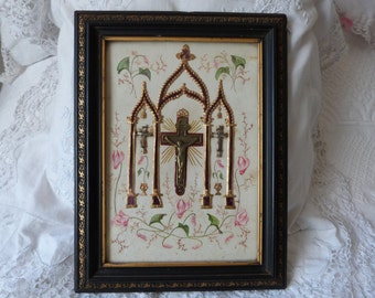 Religious art frame relic w cross Jesus Victorian hair art mourning memento crucifix hand painted French 1800s religious relic wood w gilt