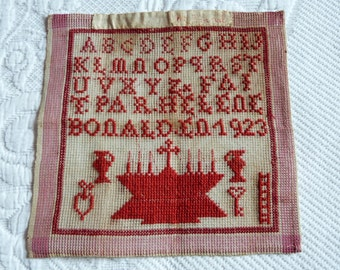 Antique French sampler abc alphabet embroidery sampler redwork signed, dated 1923 hand embroidered alphabet wall art w red embroidery design