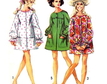 1960s Beach Coat Pattern Jiffy Cover Up Vintage Sewing Pattern Raglan Sleeve Mini Tent Dress Simplicity 8276 Size Small Bust 31 32