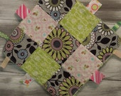 """Baby Ribbon Blanket Tag Lovey """"RIBbee"""" Boutique Patchwork Sensory Taggie Toy - Fleece - mod flowers - gray, pink, black, green"""