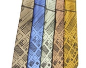 Downtown 1942 Cleveland Map Neckties, on Periwinkle, Celery Green, Copper, Gold, or Olive Green
