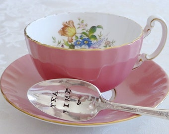 Tea Time - Hand Stamped Spoon - Vintage Gift -  Every Day Vintage - Tea and books, take time for yourself