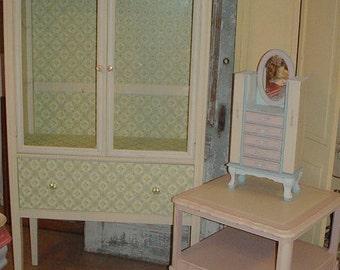 SALE Vintage Furniture Dining Room Cabinet Upcycled Vintage Roses Wallpaper Charming Cottage Furniture