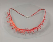 Fine linen red coral necklace for summer cocktail.  Textile art necklace with sea motives for nautical or beach wedding party.