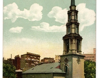 "Antique Vintage Postcard ""Park Street Church, Boston, Massachusetts"" 3.5"" x 5.5"" Estimated Date: 1910s"