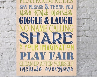 Playroom Rules... Typography Art, 11x14, 8x10
