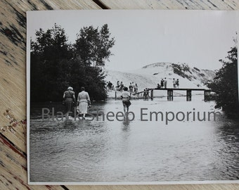 Vintage Summer Beach, Bridge, Sand Dune, Photography, Paper Ephemera, Antique, Snapshot, Old Photo, Black and White