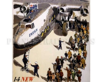 Vintage Airline Poster. Imperial Airways 14 New Airliners 1938. PRINT