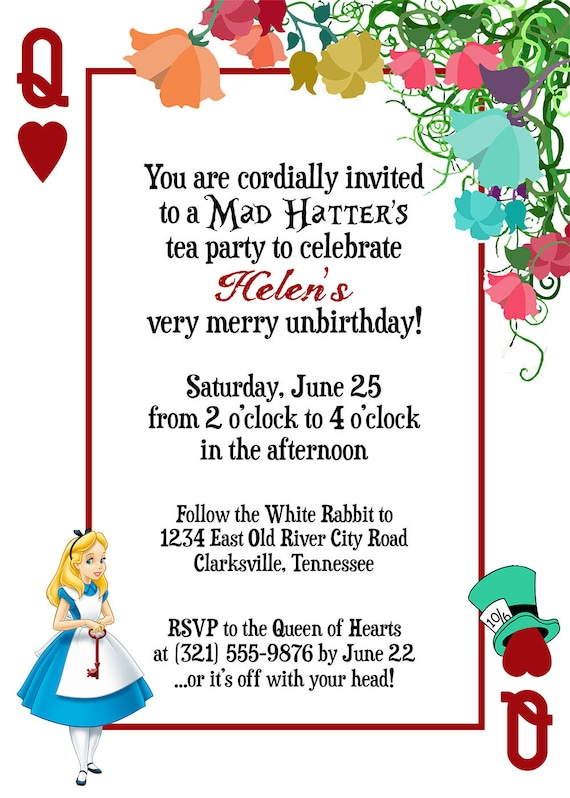 Classic Disney Alice in Wonderland Playing Card Custom – Playing Card Party Invitations
