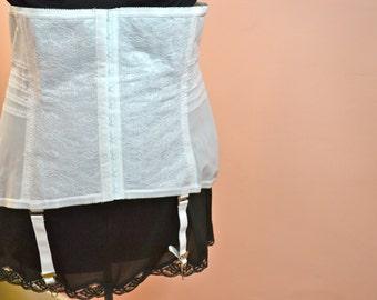 Rago Waist Cincher. White Girdle w/ Garter Belt. Vintage Lingerie. Plus Size  Size 4X  VL83
