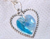Aquamarine Swarovski Crystal Heart Necklace - March Birthstone - Silver Heart Charm - Gifts Under 15