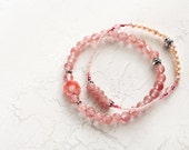 Coral and Pearl Bracelet Set - Peach and Coral Bracelets - Stretch Bracelets - Pretty Bracelets - Summer Jewelry