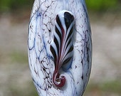 Feather Totem Handmade Lampworked Glass Bead OOAK White Black Shield Focal Lampwork