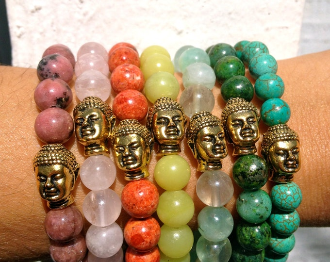 Vintage Gold Buddha Bracelet in Assorted Colors - Gift Boxed