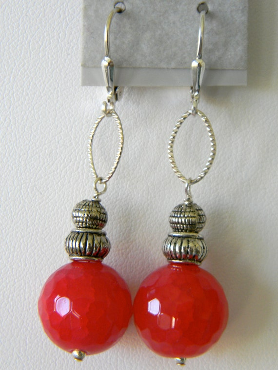 Strawberry Red Sterling Silver Earrings