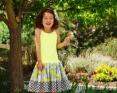 Girls Neon Yellow Tank Dress in Yellow Gray Flower Print - 3 Left in  XS 4/5 S 6/6X  L10/12 Ready to Ship S 6/6X
